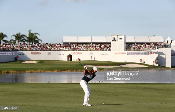 Rickie Fowler of the United States plays a shot on the 16th hole during the third round of The Honda Classic at PGA National Resort and Spa on...
