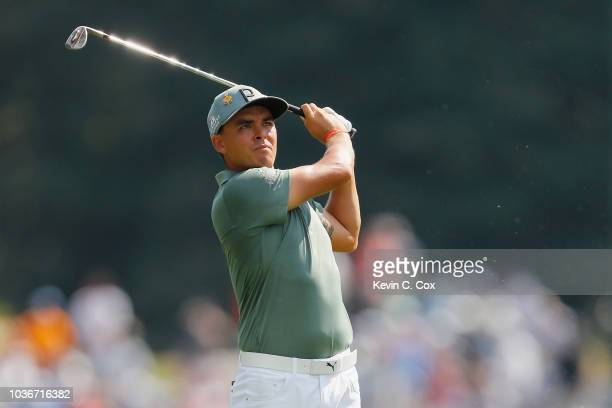 Rickie Fowler of the United States plays a shot on the 17th hole during the first round of the TOUR Championship at East Lake Golf Club on September...
