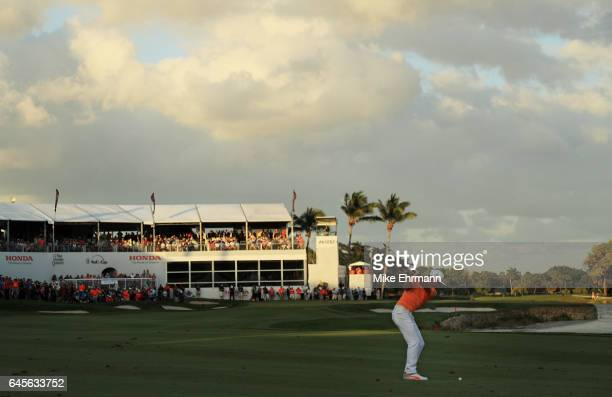 Rickie Fowler of the United States plays a shot on the 18th hole during the final round of The Honda Classic at PGA National Resort and Spa on...