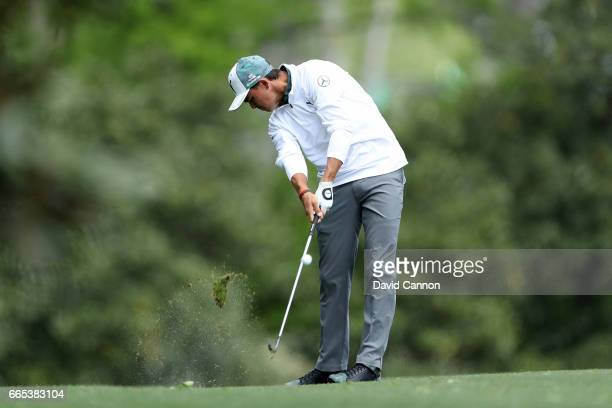 Rickie Fowler of the United States plays a shot on the fifth hole during the first round of the 2017 Masters Tournament at Augusta National Golf Club...