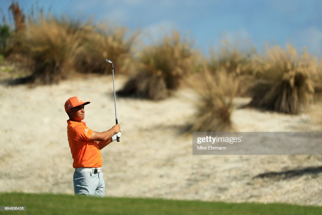 Rickie Fowler of the United States plays a shot on the fourth hole during the final round of the Hero World Challenge at Albany, Bahamas on December 3, 2017 in Nassau, Bahamas.
