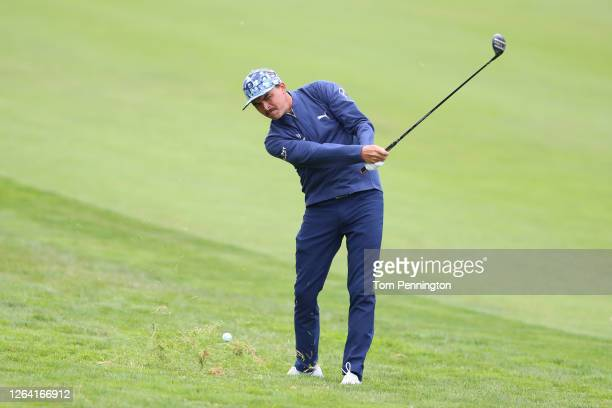 Rickie Fowler of the United States plays a shot on the tenth hole during a practice round prior to the 2020 PGA Championship at TPC Harding Park on...