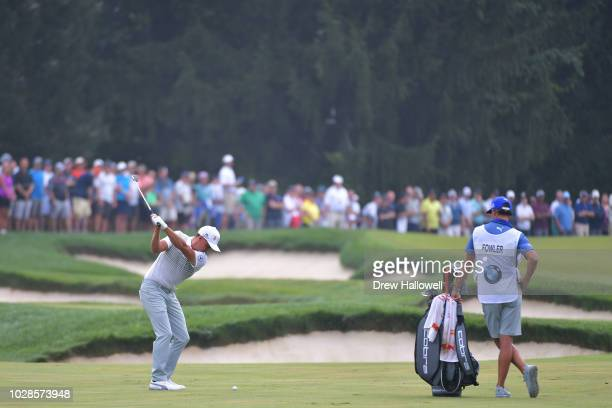 Rickie Fowler of the United States plays a shot on the third hole during the second round of the BMW Championship at Aronimink Golf Club on September...