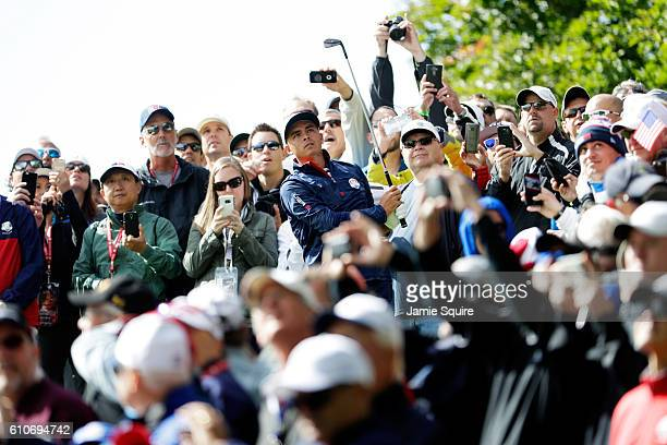 Rickie Fowler of the United States plays a shot while practicing prior to the 2016 Ryder Cup at Hazeltine National Golf Club on September 27, 2016 in...