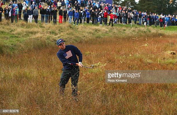 Rickie Fowler of the United States plays from the rough on the 8th hole during the Afternoon Foursomes of the 2014 Ryder Cup on the PGA Centenary...