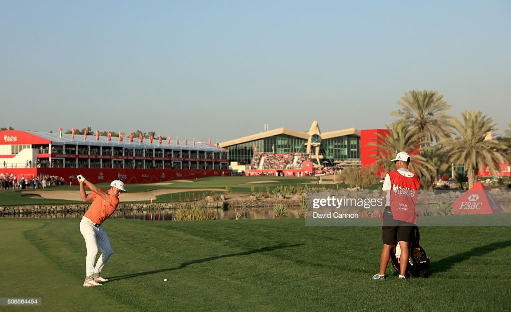 Rickie Fowler of the United States plays his second shot at the par 5, 18th hole during the final round of the 2016 Abu Dhabi HSBC Golf Championship at the Abu Dhabi Golf Club on January 24, 2016 in Abu Dhabi, United Arab Emirates.