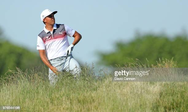 Rickie Fowler of the United States plays his second shot on the 13th hole during the third round of the 2018 US Open at Shinnecock Hills Golf Club on...