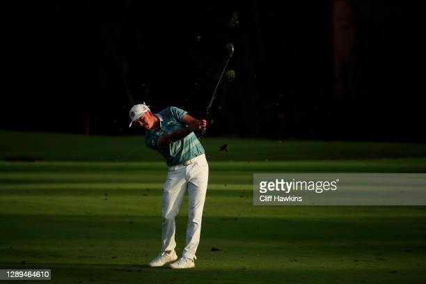 Rickie Fowler of the United States plays his second shot on the 17th hole during the second round of the Mayakoba Golf Classic at El Camaleón Golf...