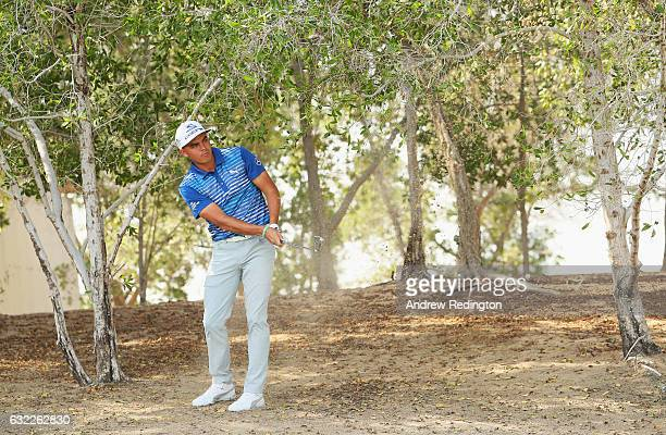 Rickie Fowler of the United States plays his second shot on the 5th hole during the third round of the Abu Dhabi HSBC Championship at the Abu Dhabi...