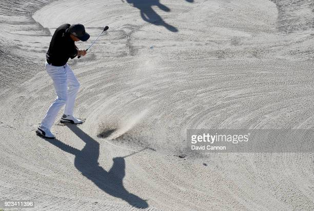 Rickie Fowler of the United States plays his second shot on the par 3 15th hole during the second round of the 2018 Honda Classic on The Champions...