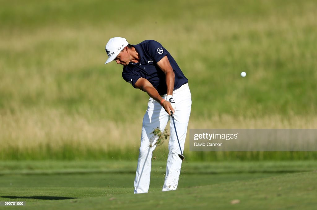 Rickie Fowler of the United States plays his second shot on the par 4, 15th hole during the second round of the 117th US Open Championship at Erin Hills on June 16, 2017 in Hartford, Wisconsin.