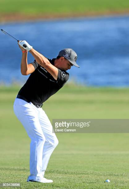 Rickie Fowler of the United States plays his second shot on the par 4 16th hole during the second round of the 2018 Honda Classic on The Champions...