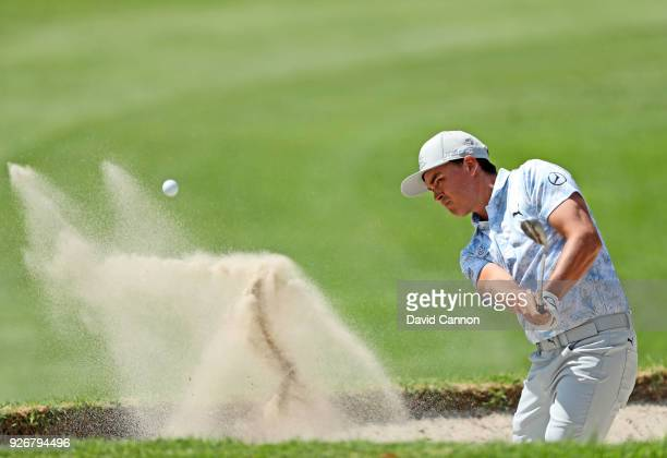 Rickie Fowler of the United States plays his second shot on the par 4 first hole during the third round of the World Golf ChampionshipsMexico...