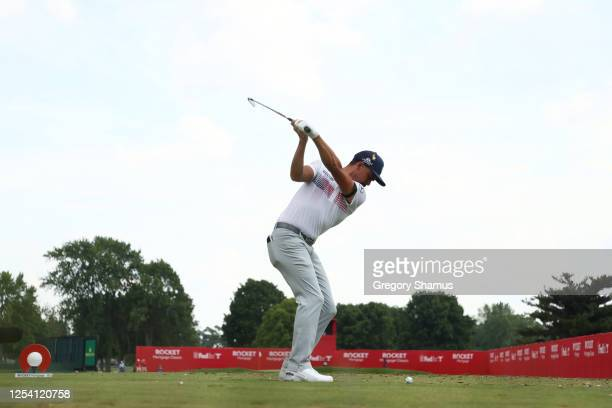 Rickie Fowler of the United States plays his shot from the 15th tee during the second round of the Rocket Mortgage Classic on July 03, 2020 at the...