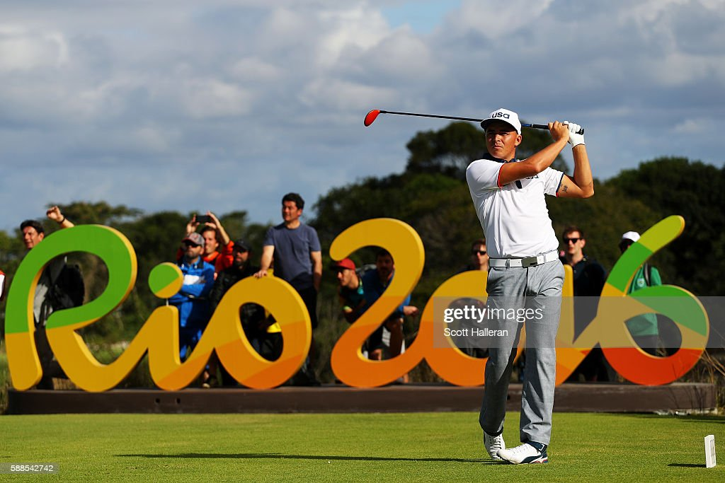 Rickie Fowler of the United States plays his shot from the 16th tee during the first round of men's golf on Day 6 of the Rio 2016 Olympics at the Olympic Golf Course on August 12, 2016 in Rio de Janeiro, Brazil.