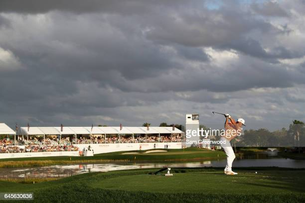 Rickie Fowler of the United States plays his shot from the 17th tee during the final round of The Honda Classic at PGA National Resort and Spa on...