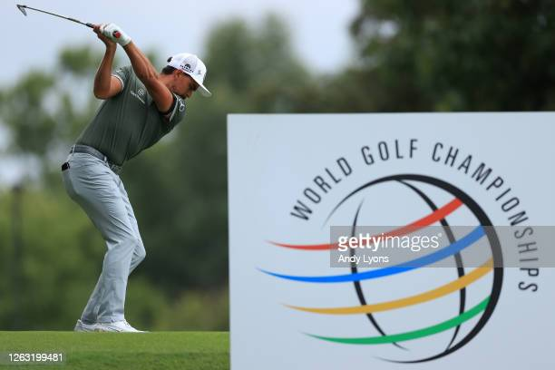 Rickie Fowler of the United States plays his shot from the eighth tee during the third round of the World Golf Championship-FedEx St Jude...