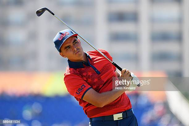 Rickie Fowler of the United States plays his shot from the eighth tee during the final round of men's golf on Day 9 of the Rio 2016 Olympic Games at...