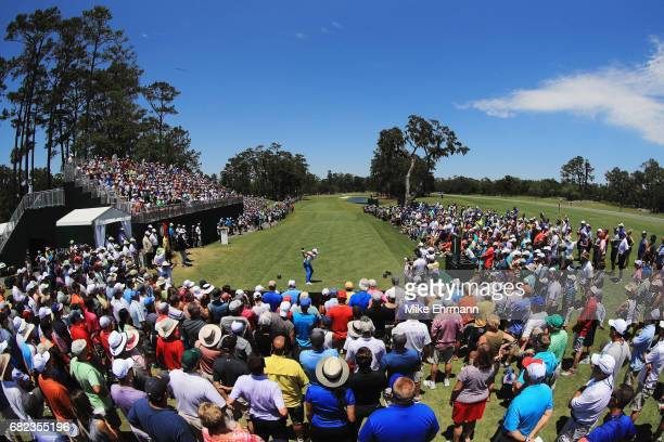 Rickie Fowler of the United States plays his shot from the first tee during the second round of THE PLAYERS Championship at the Stadium course at TPC...