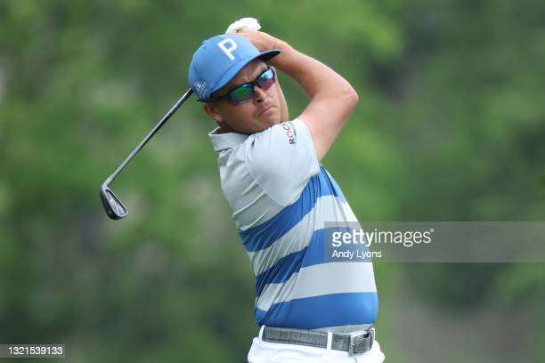 Rickie Fowler of the United States plays his shot from the fourth tee during the first round of The Memorial Tournament at Muirfield Village Golf...