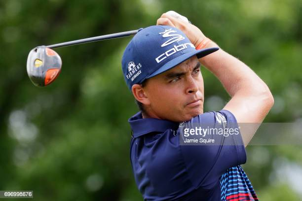 Rickie Fowler of the United States plays his shot from the fourth tee during the third round of the 2017 US Open at Erin Hills on June 17 2017 in...