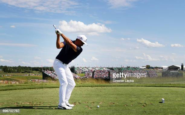 Rickie Fowler of the United States plays his shot from the ninth tee during the second round of the 2017 U.S. Open at Erin Hills on June 16, 2017 in...