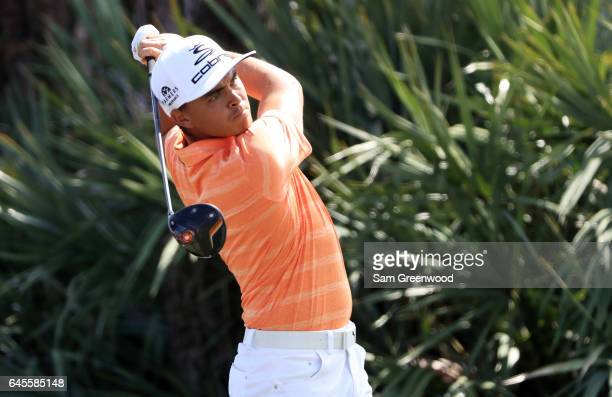 Rickie Fowler of the United States plays his shot from the second tee during the final round of The Honda Classic at PGA National Resort and Spa on...