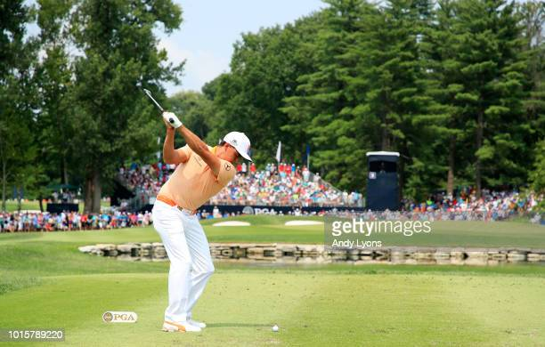 Rickie Fowler of the United States plays his shot from the third tee during the final round of the 2018 PGA Championship at Bellerive Country Club on...