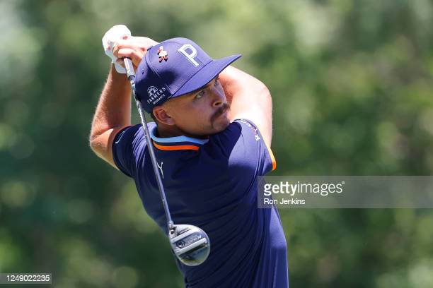 Rickie Fowler of the United States plays his shot from the third tee during the first round of the Charles Schwab Challenge on June 11, 2020 at...