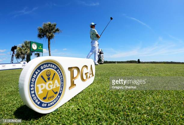 Rickie Fowler of the United States plays his shot from the third tee during the first round of the 2021 PGA Championship at Kiawah Island Resort's...