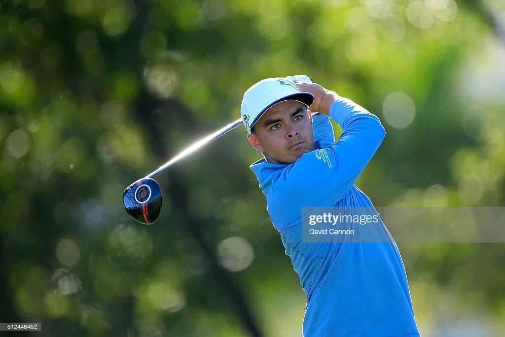 Rickie Fowler of the United States plays his tee shot at the par 4, 14th hole during the second round of the 2016 Honda Classic held on the PGA National Course at the PGA National Resort and Spa on February 26, 2016 in Palm Beach Gardens, Florida.