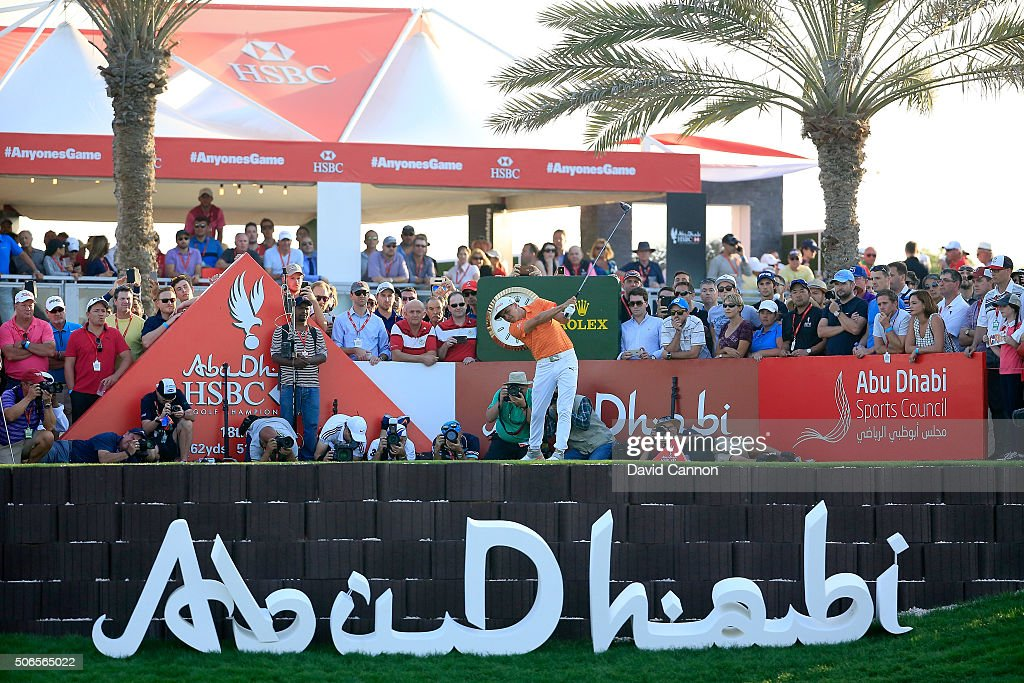 Rickie Fowler of the United States plays his tee shot at the par 5, 18th hole during the final round of the 2016 Abu Dhabi HSBC Golf Championship at the Abu Dhabi Golf Club on January 24, 2016 in Abu Dhabi, United Arab Emirates.