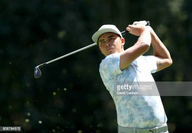 Rickie Fowler of the United States plays his tee shot on the par 3 third hole during the third round of the World Golf ChampionshipsMexico...