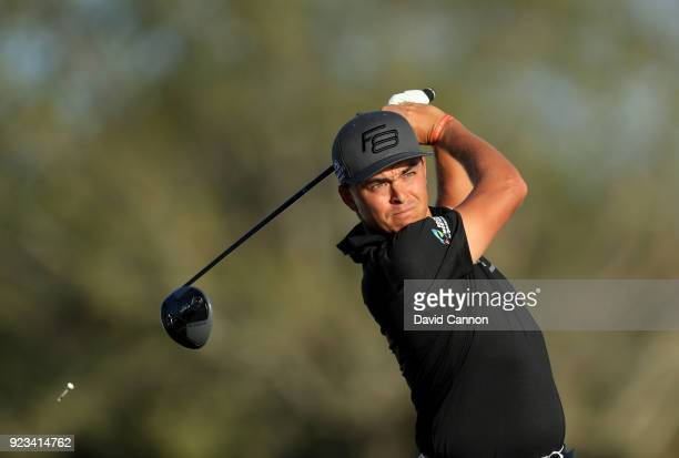 Rickie Fowler of the United States plays his tee shot on the par 4 12th hole during the second round of the 2018 Honda Classic on The Champions...