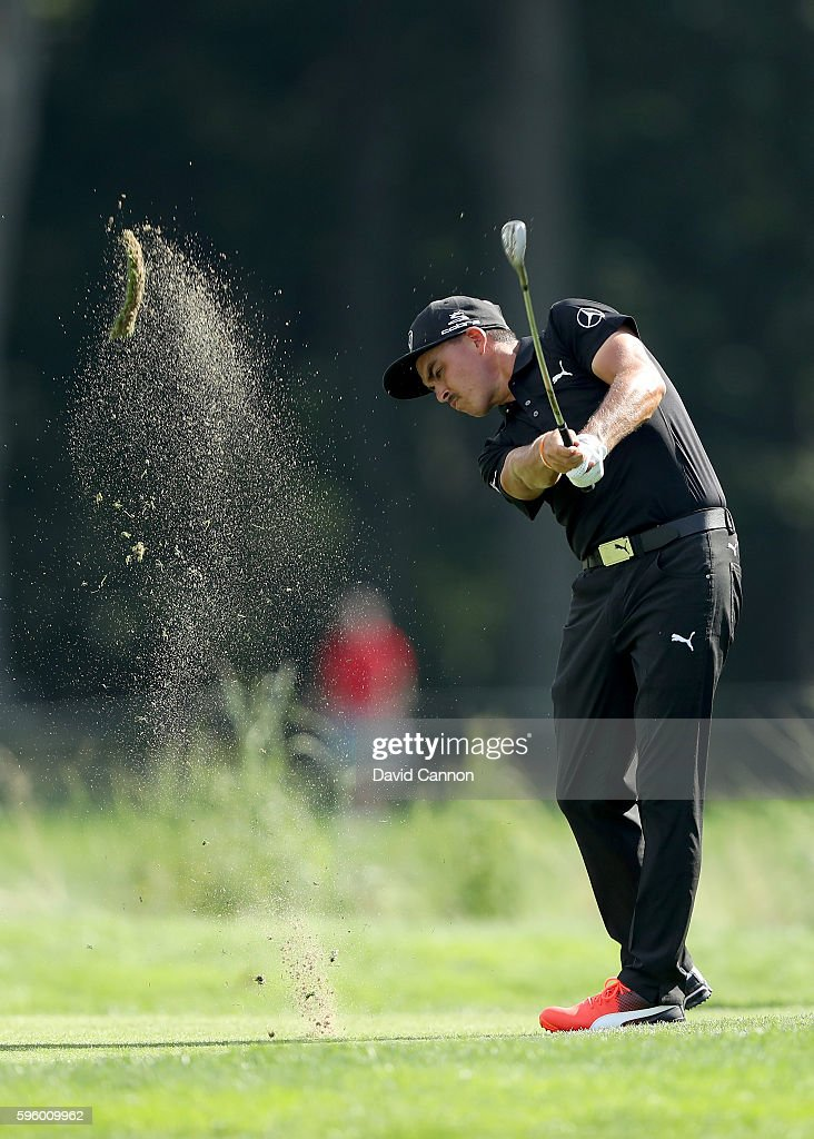 Rickie Fowler of the United States plays his third shot on the fourth hole during the second round of The Barclays in the PGA Tour FedExCup Play-Offs on the Black Course at Bethpage State Park on August 26, 2016 in Farmongdale, New York.