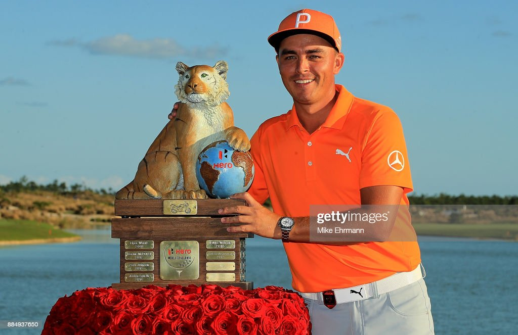 Rickie Fowler of the United States poses with the trophy after winning the Hero World Challenge at Albany, Bahamas on December 3, 2017 in Nassau, Bahamas.
