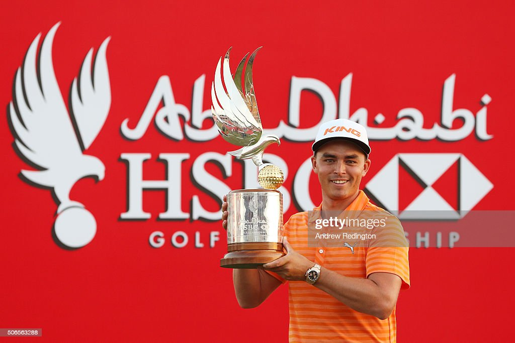 Rickie Fowler of the United States poses with the winners trophy after round four of the Abu Dhabi HSBC Golf Championship at the Abu Dhabi Golf Club on January 24, 2016 in Abu Dhabi, United Arab Emirates.