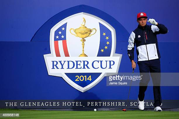 Rickie Fowler of the United States prepares to tee off on the 1st hole during practice ahead of the 2014 Ryder Cup on the PGA Centenary course at the...