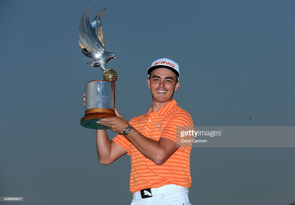 Rickie Fowler of the United States proudly holds the trophy after his win during the final round of the 2016 Abu Dhabi HSBC Golf Championship at the Abu Dhabi Golf Club on January 24, 2016 in Abu Dhabi, United Arab Emirates.