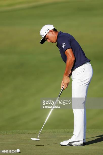 Rickie Fowler of the United States putts on the 15th green during the second round of the 2017 U.S. Open at Erin Hills on June 16, 2017 in Hartford,...