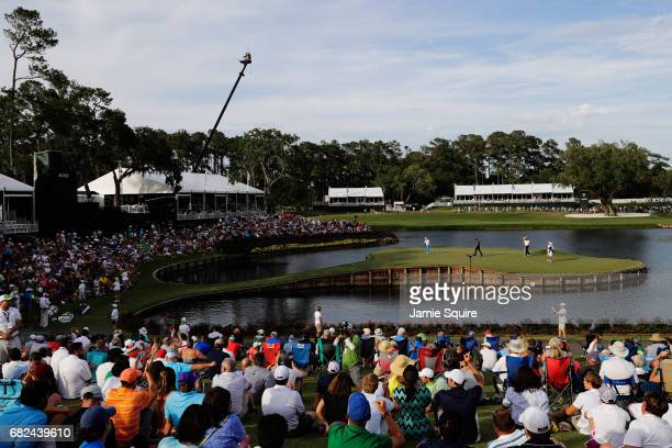 Rickie Fowler of the United States putts on the 17th green during the second round of THE PLAYERS Championship at the Stadium course at TPC Sawgrass...