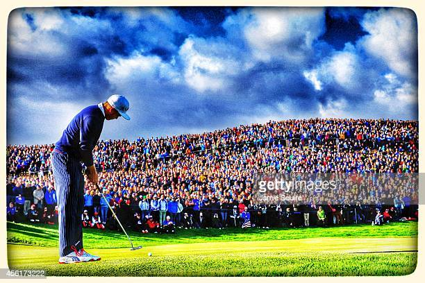 Rickie Fowler of the United States putts on the 8th green during the Morning Fourballs of the 2014 Ryder Cup on the PGA Centenary course at the...
