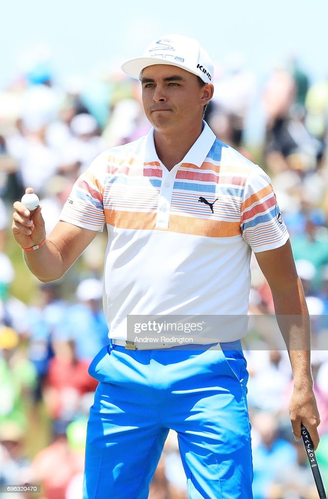 Rickie Fowler of the United States reacts after finishing on the ninth green during the first round of the 2017 U.S. Open at Erin Hills on June 15, 2017 in Hartford, Wisconsin.