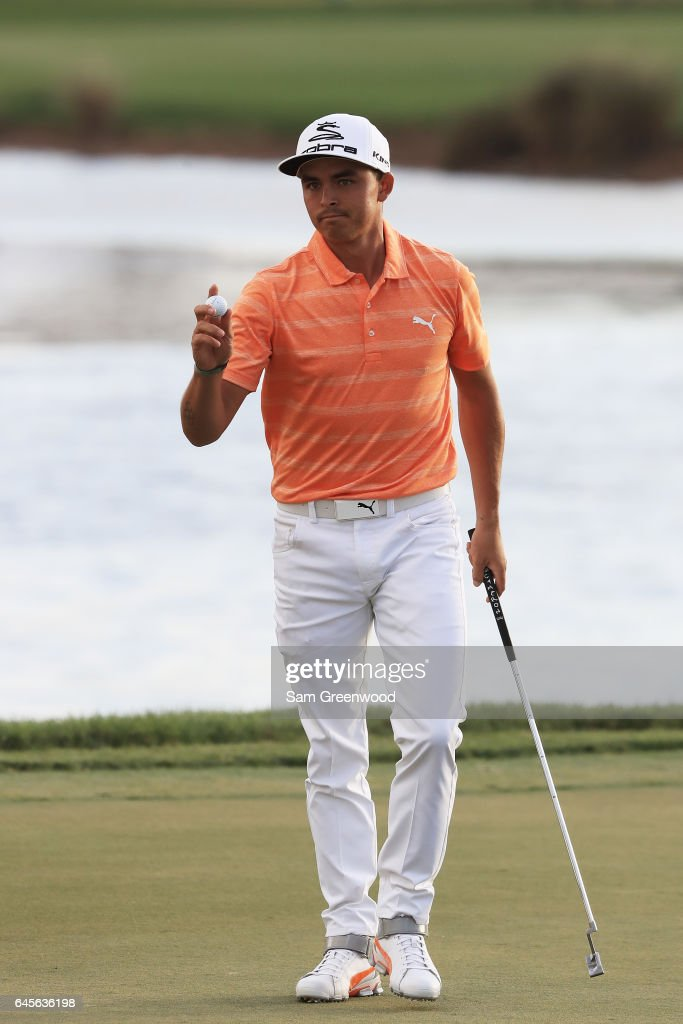 Rickie Fowler of the United States reacts on the 15th green during the final round of The Honda Classic at PGA National Resort and Spa on February 26, 2017 in Palm Beach Gardens, Florida.