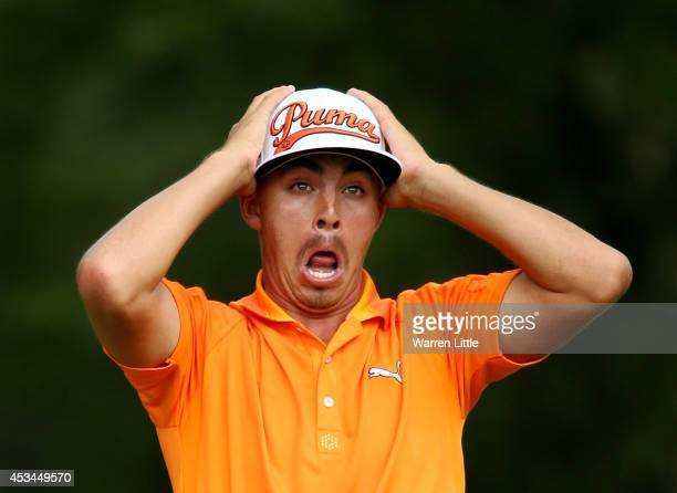 Rickie Fowler of the United States reacts on the fifth tee during the final round of the 96th PGA Championship at Valhalla Golf Club on August 10...