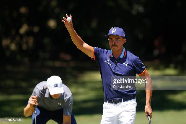 Rickie Fowler of the United States reacts to his birdie on the eighth green during the first round of the Charles Schwab Challenge on June 11, 2020...