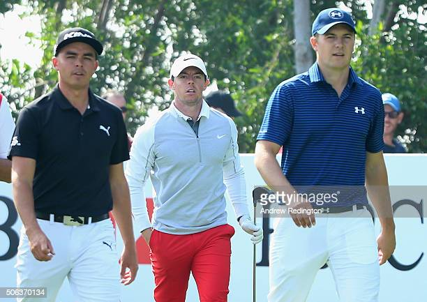 Rickie Fowler of the United States Rory McIlroy of Northern Ireland and Jordan Spieth of the United States are pictured together on the 16th hole...