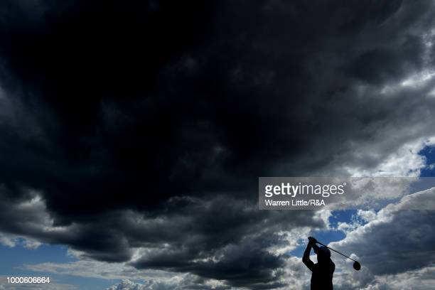 Rickie Fowler of the United States seen while playing in a practice round during previews to the 147th Open Championship at Carnoustie Golf Club on...
