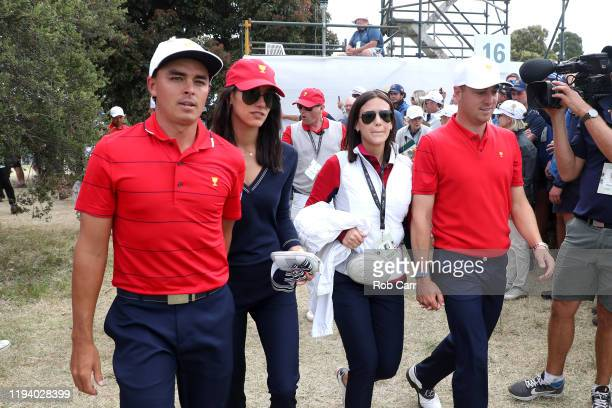 Rickie Fowler of the United States team Allison Stokke Justin Thomas of the United States team and Jillian Wisniewski celebrate after they won the...