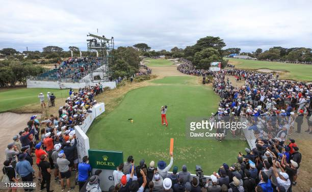 Rickie Fowler of the United States Team plays his tee shot on the par 3 third hole in his match with Justin Thoams in their match against Marc...
